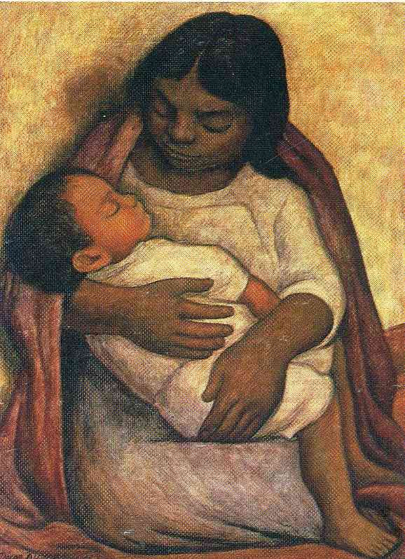 "Diego Rivera, ""Delfina and Dimas"" (1904).  Another pinner said ""One thing I noticed is that the child is very light-skinned compared to the mother.  Delfina, an Ixtapalapa Indian, often sat as a model for Diego.  Dimas died as an infant."""
