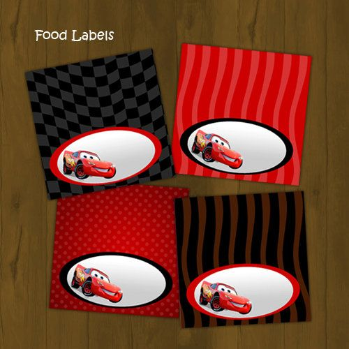 Disney CARS Lightning Mc Queen Food Labels by SplashboxPrintables, $3.00