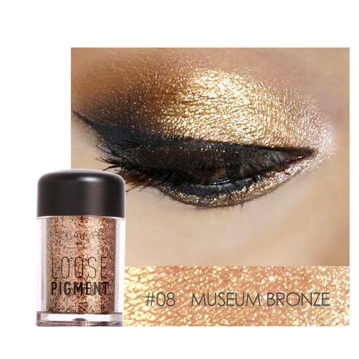 FOCALLURE Eye Shadow Shimmer Metallic Pigment Powder Eyeshadow Eyes Makeup Highlight Cosmetic