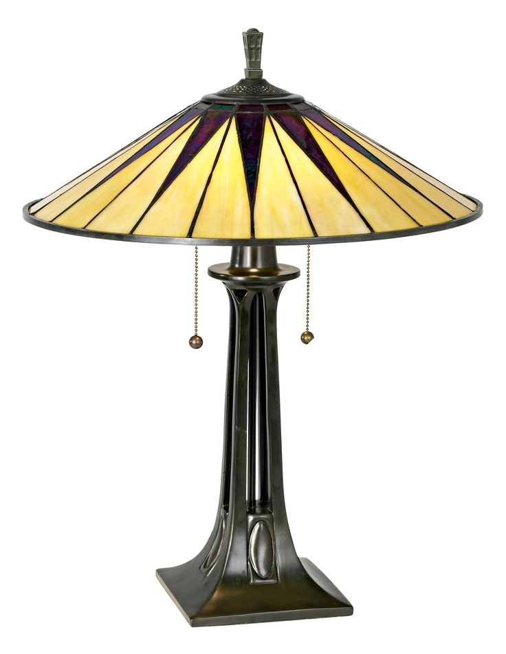 Quoizel Gotham Antique Bronze Tiffany Style Table Lamp   Style # 05314