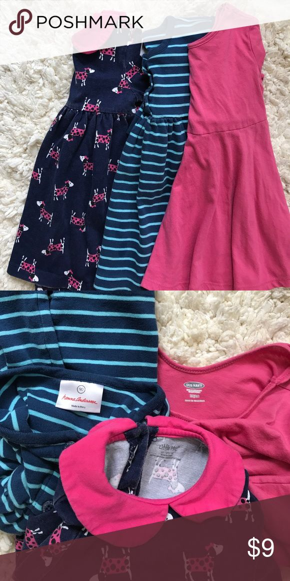 Dress Lot👗 From L-R--- Little Me size 3t Spotty Dog dress with Peter Pan style collar and long sleeves. Has some fading but otherwise great condition. Hanna Anderson size 2t Striped dress with long sleeves. Very good condition. Old Navy size 2t solid pink dress with 3/4 sleeves. Has a ballet style neck with scoop neck back. Good condition. All 3 are not very long so they'd be perfect with tights or leggings. Dresses