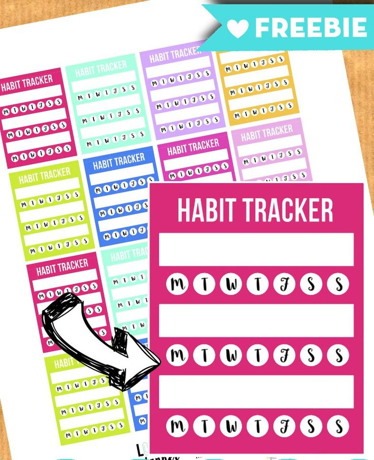 Download a FREE full sheet of habit tracker stickers for your planner, filofax, happy planner, kikki k, webster pages, EC life planner...