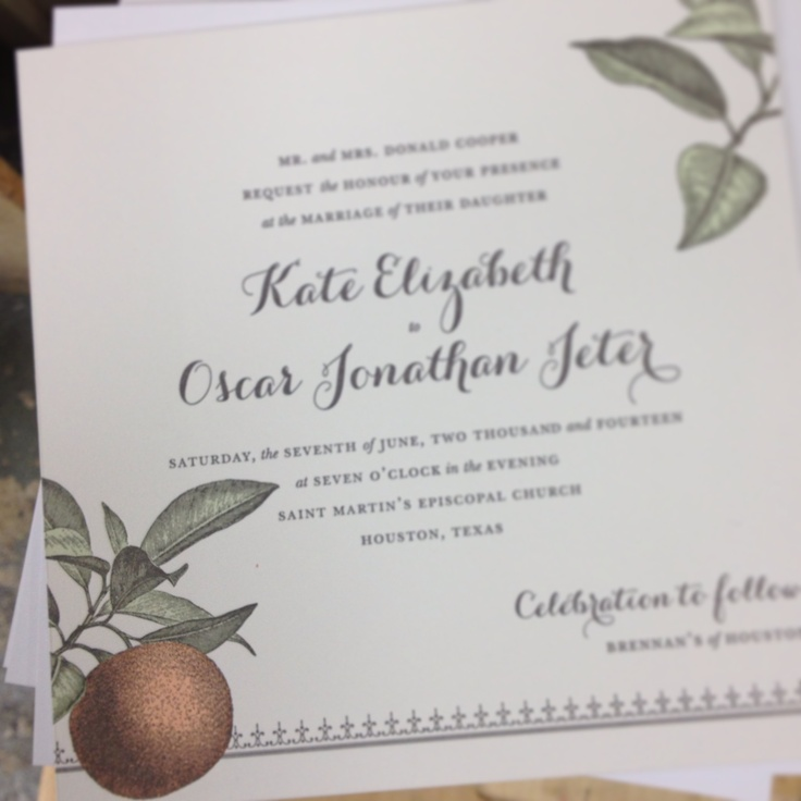 Lu0027Orangerie letterpress wedding invitation variation by Dauphine
