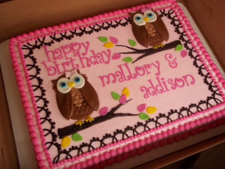 A first b-day for two one year olds. 1/2 sheet iced in BC with MMF owls and leaves. Price: 55.00  Also two cupcakes made to coordinate with ...