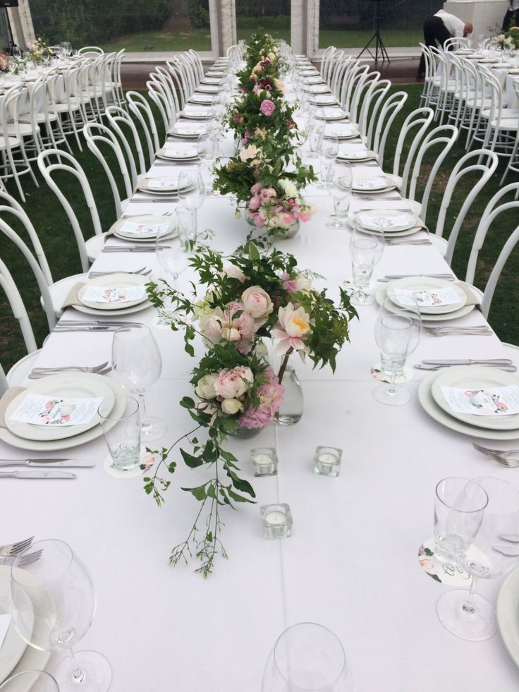 Pastel flowers- banquet tables. | by Flower Jar