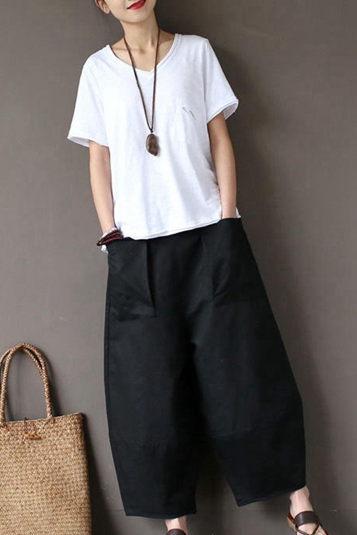 Black Loose Cotton Linen Casual Ankle Length Pants Women Clothes P1203