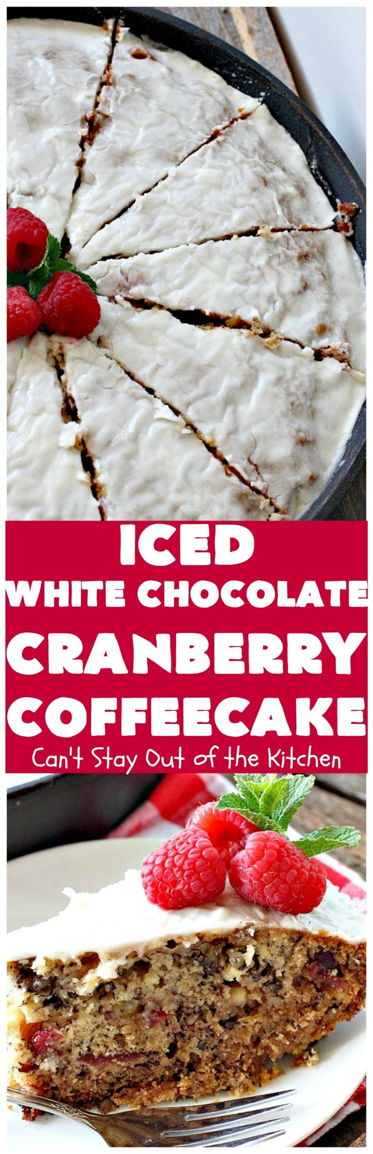 Iced White Chocolate Cranberry Coffeecake | Can't Stay Out of the Kitchen | this #coffeecake will make you drool! It's filled with white #chocolate & #craisins. Perfect for a #holiday #breakfast or #dessert.