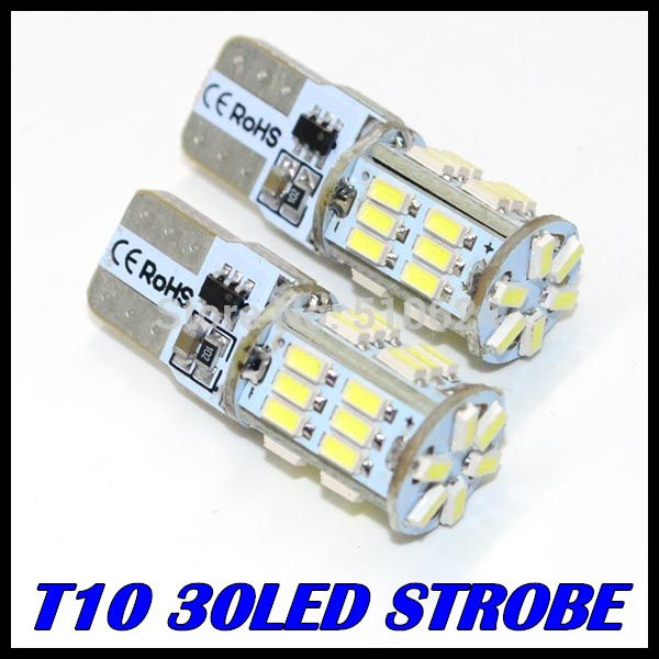 2PCS/LOT t10 led strobe high quality Strobe flash w5w 30smd t10 30led 3014smd car led Light Bulbs wholesale free shipping * Offer can be found by clicking the image
