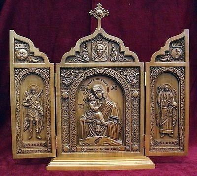 Big Orthodox Wooden Carved Triptych Mother of God , Archangel Michael, Gabriel !