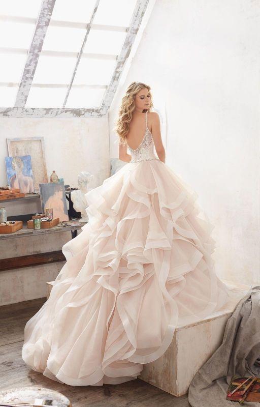 Chwalebne Kolekcja Mori Lee suknia ślubna ze spódnicą w falbany 8127 | MORI FX95