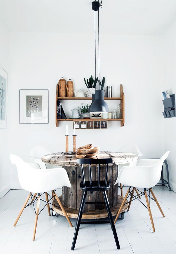 Diy-spisebord af en gammel kabeltromle