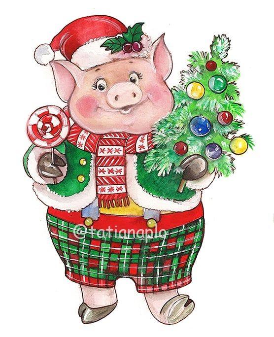 Новогодние открытки свинок