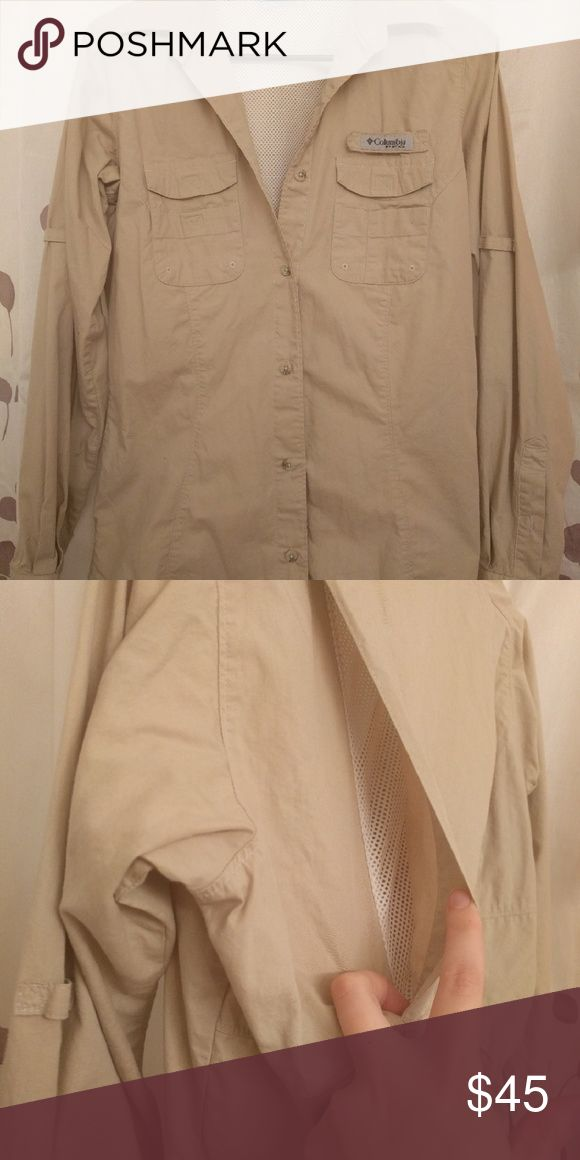 Long sleeve Columbia pfg shirt Tan professional fishing gear shirt. Perfect for outdoor activities. Breaths well. Only worn once. Columbia Tops Tees - Long Sleeve