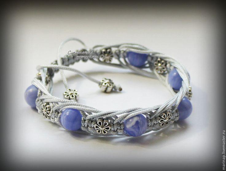 Купить Браслет шамбала Васильковый агат - васильковый, васильковый цвет, голубой браслет, нежно-голубой