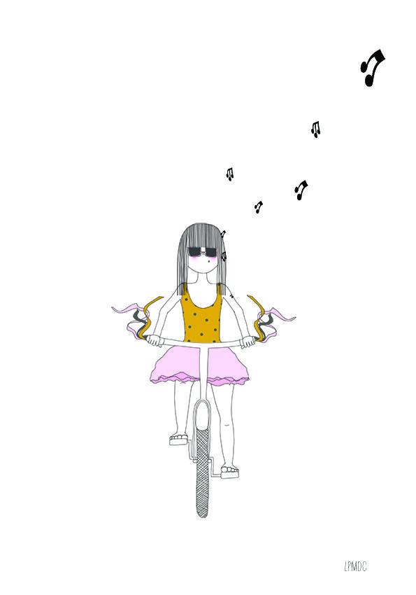 """""""Paulette à Bicyclette"""" illustration enfant, petite fille à vélo, rose - moutarde - gris, affiche chambre enfant, décoration enfant, LPMDC"""