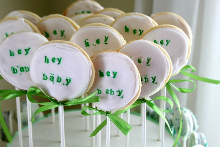 hand stamped cookie popsHands Stamps Cookies, Birthdays Celebrities, Cookies Stamps, Cookies Pop, Baby Shower