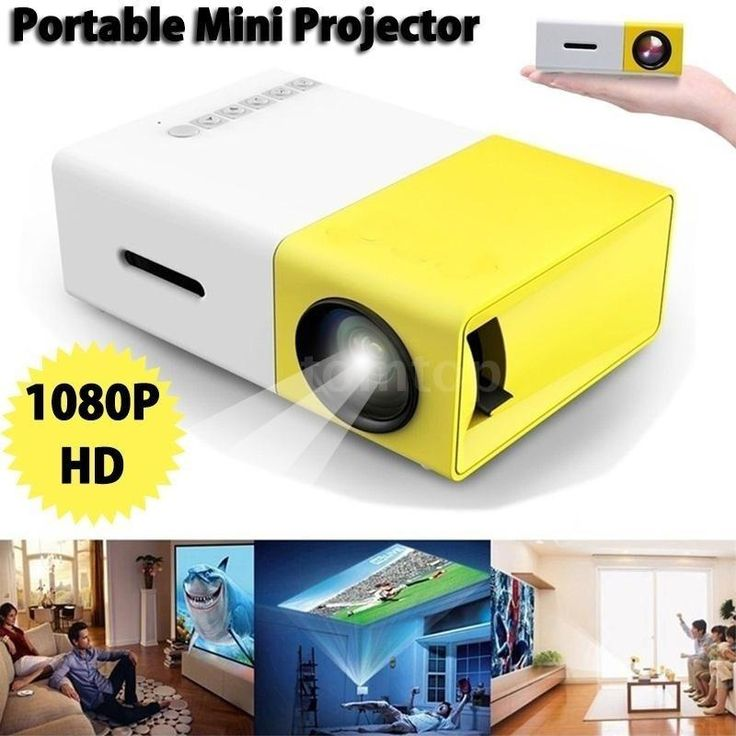 Projector Accessories FW1S YG300 LED Projector 1080P HD Projection Machine with USB AV Micro SD Port Mini Pocket Remote Controll