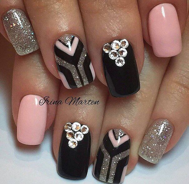 Black nails ideas, Evening nails, Fashion nails 2017, Festive nails, Graduation nails, Nails with stones, New ideas of nails, New years nails