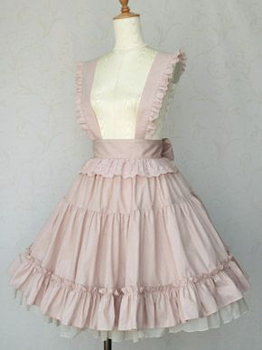 """Apron skirt from Victorian Maiden. This is so. Cute. Omg. The layers in the skirt is beautiful, but the straps? They just make this so much more unique than the other skirts I've seen. Way too """"sweet lolita"""" for me, but still cute! :)"""