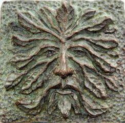 Image Of Greenman / Green Man Art Tile
