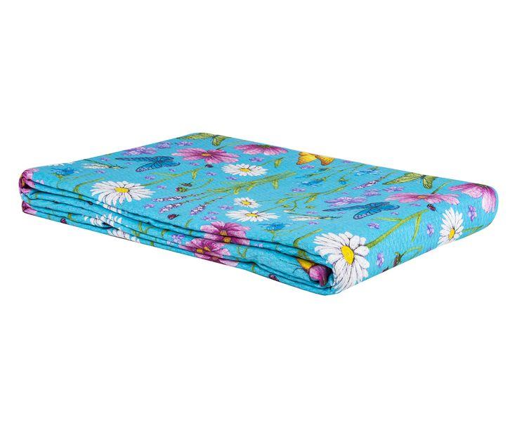 Copriletto matr. in cotone piquet Fiori turchese - 260x270 cm   Dalani Home & Living