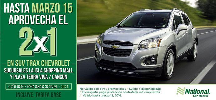 ¡Del 1 al 15 de #Marzo aprovecha el 2X1 que tenemos en SUV Trax Chevrolet! Aplica en #IslaShoppingMall y #PlazaTerraViva, #Cancún Reserva ahora... https://nationalcar.com.mx/ #NosotrosTeLlevamos