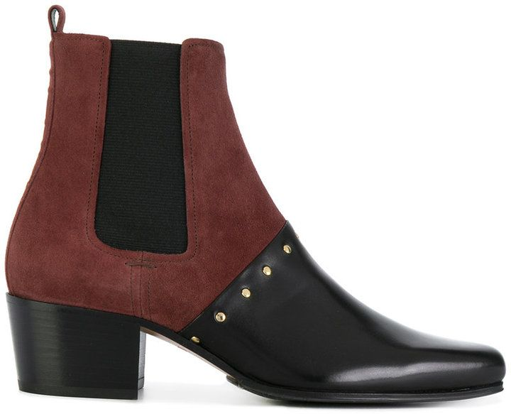 Balmain two tone studded ankle boots
