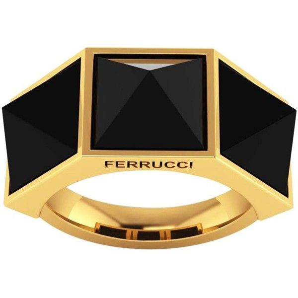 Ferrucci Black Onyx Pyramids 18 Karat Yellow Gold Ring ($1,550) ❤ liked on Polyvore featuring jewelry, rings, fashion rings, yellow, gold pyramid ring, pyramid ring, adjustable gold rings, gold jewellery and 18k ring