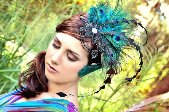 Turquoise Dreams Peacock Gatsby Style by TheHauteFeather on Etsy