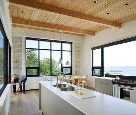 Decora tu cocina con estantes al aire....: Modern House Design, Modern Cottages, Clean Lin Cottages, Cottages Kitchens, Design Room, Design Interiors, The View, Upper Cabinets, Photo Galleries