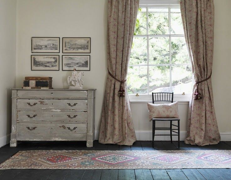love the curtains!   Modern Country Style: Faded Florals In Soft Neutrals: Get The Look