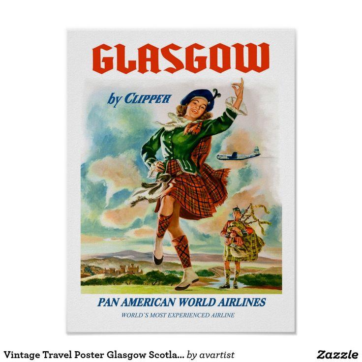 Vintages Reise-Plakat Glasgow Schottland Poster