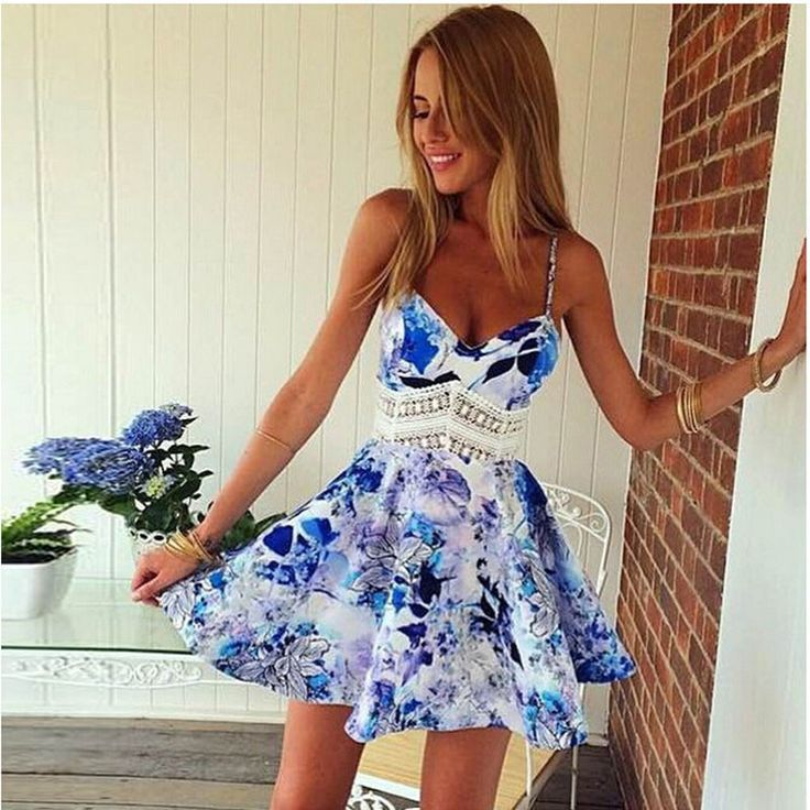 Summer Sleeveless Flower Pattern Beach Casual Dress (Plus Size)