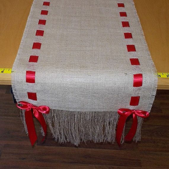 14 x 108 Burlap Runner with Red Ribbon by cherrycheckers on Etsy