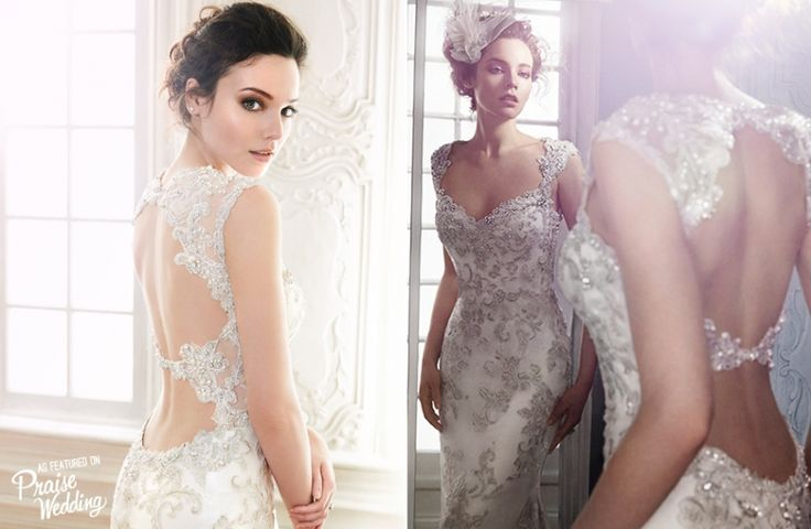 Maggie Sottero - Jade: Swarovski crystal neckline + bead and lace sheath wedding dress