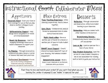 INSTRUCTIONAL COACHING MENU - TeachersPayTeachers.com