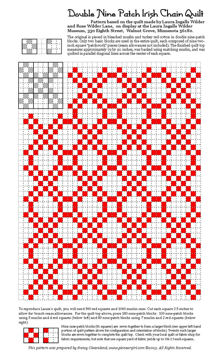 Double Irish Chain Patch Pattern based on one Laura Ingalls Wilder made with her daughter Rose.