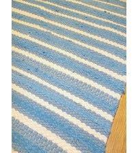 Frottír rongyszőnyeg kék, nyers 70 x 150 cm