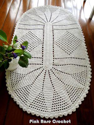 \ PINK ROSE CROCHET /: Tapete Oval de Crochê com Barbante