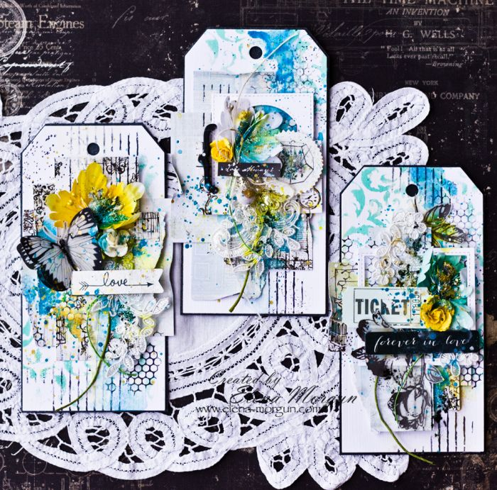 """I used August's fresh and light PPP palette to create a set of Mixed Media tags. Usually, I try to plan my creative process, but this time I let go of all thoughts and just let the inspiration wash over me."" ~ Elena Morgun"