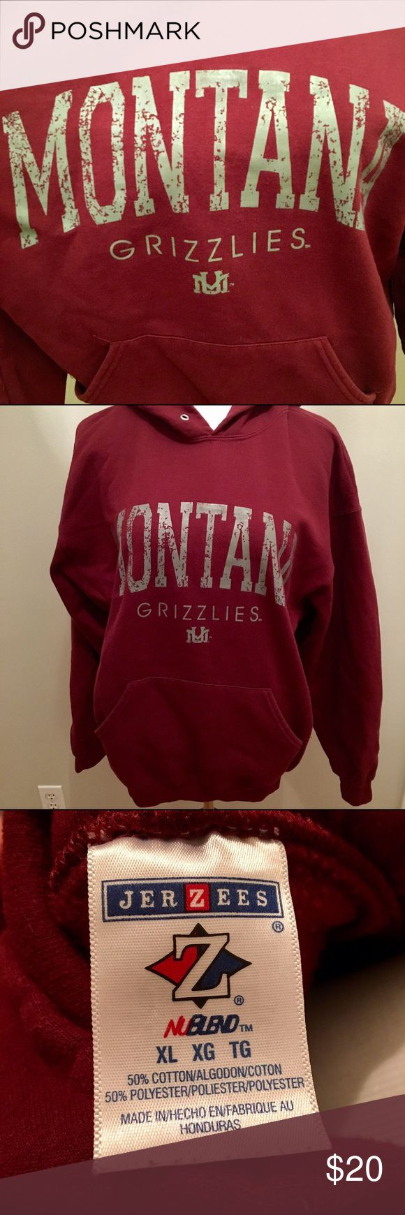 University of Montana Grizzlies Sweatshirt Bought from the campus bookstore while visiting my brother. Worn twice. I live in Iowa can't be wearing it here! Very comfy. No flaws . The string is not in the hood, I always get rid of those! Jerzees Tops Sweatshirts & Hoodies