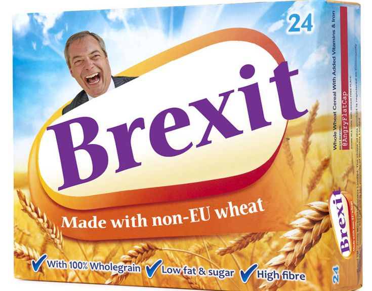 This meme features Nigel Farage advertising cereal