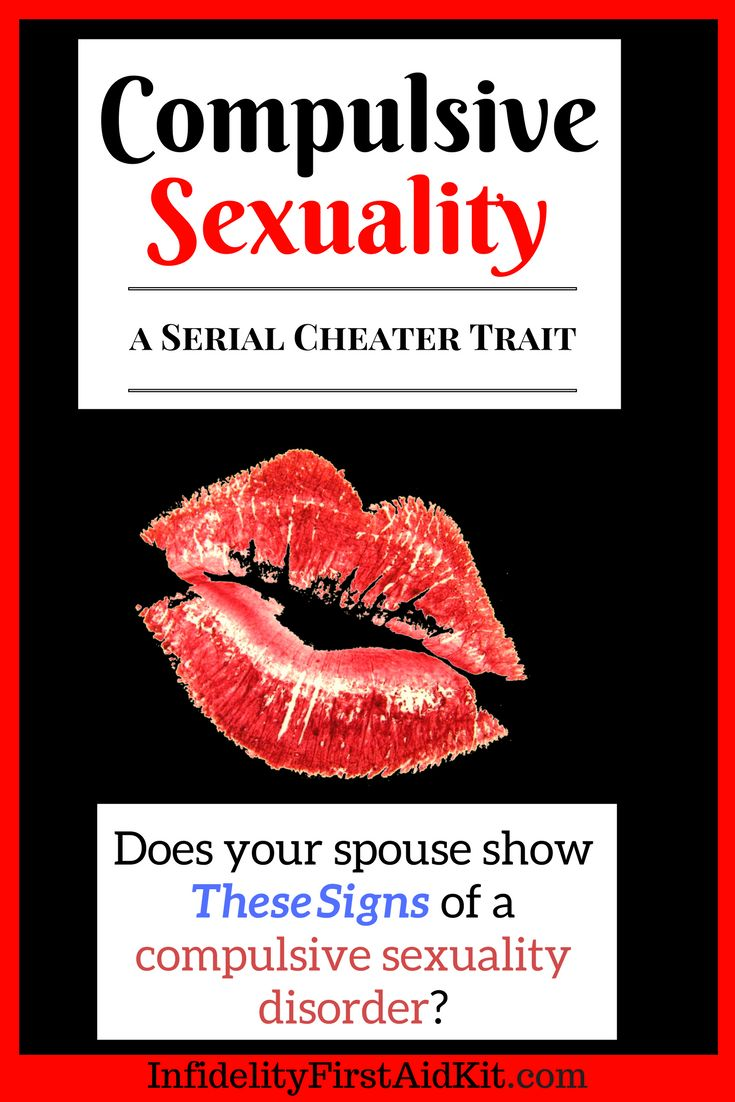 Does your cheating spouse show symptoms of a Compulsive Sexuality disorder?  Is he/she addicted to sex?  Does he/she seek extramarital sex?  Will this sexual impulse lead to more cheating?  Visit https://www.infidelityfirstaidkit.com/compulsive-sexuality/
