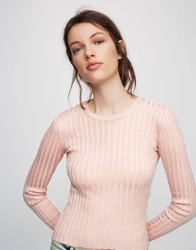 Pull&Bear - mujer - ropa - punto - jersey canalé cuello redondo - rosa vigo - 05557211-V2017
