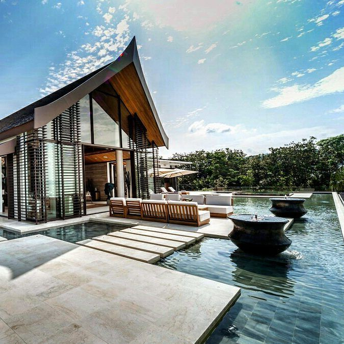 For the love of things shiny, new and require a plane ticket, may we all take a moment to appreciate the gorgeous Villa Amarapura in Phuket, Thailand.  Imagine soaking in a jacuzzi while staring out to sea views, and getting your game on with the villa's own golf simulation game.  Book 5-7 bedrooms from USD 2,400 a night on TheLuxeNomad.com.