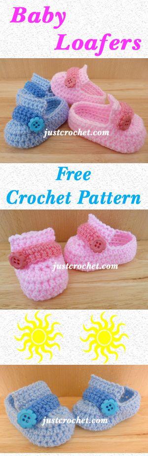 Cute baby loafers, free crochet pattern. #crochet