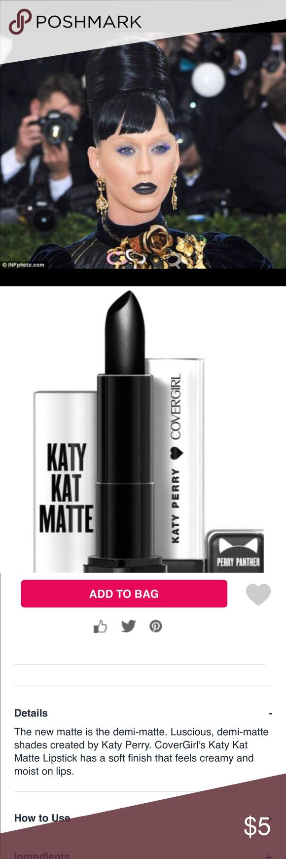 """Cover girl/Katy Perry Demi-matte lipstick This sleek black trendy lippy looks HOT! """"Perry panther"""", is a demi-matte ,(hint, it's not as drying, but still lasts☺️), these actually lasted for 6 hours w/primer, so that's impressive for a budget minded brand! I was pleased with the pigment & color layout, these guys are definitely stepping up their game! Perfect stocking stuffer for your fashionista! Christmas 🎄! NEW/UNUSED/FULL SIZE. ❌trades/other sites.   price FIRM unless bundling. NO…"""