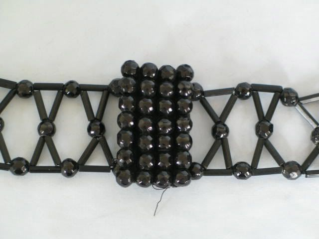 Victorian French Jet Bead Mourning Belt & Buckle (120225-292-3 / 11-11486-RC/EY) - For Sale with Rhodons Collectables