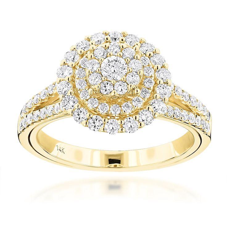 Luxurman 14k Gold 1 1/5ct TDW Double Circle Diamond Ring
