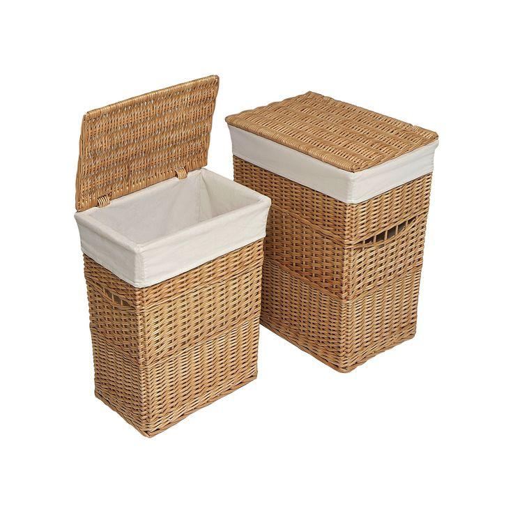Badger Basket Wicker Hamper Set, Beig/Green (Beig/Khaki)